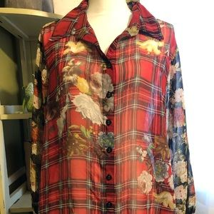 Sheer flannel top. Fun to wear with accessories